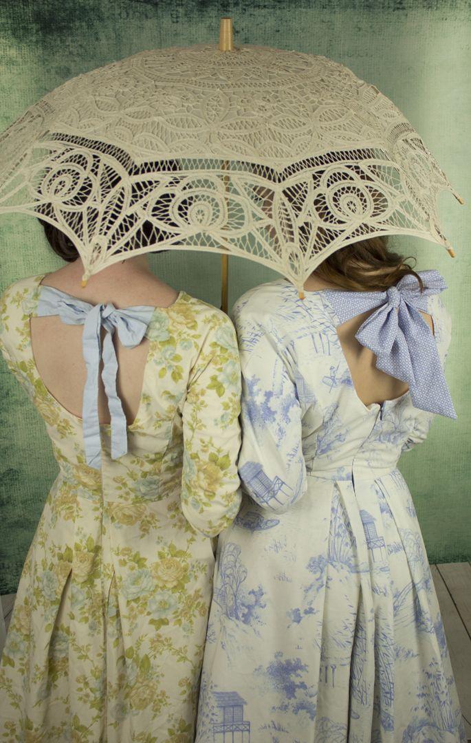 Pretty as a Parasol, 3/4 sleeve bow back dresses.