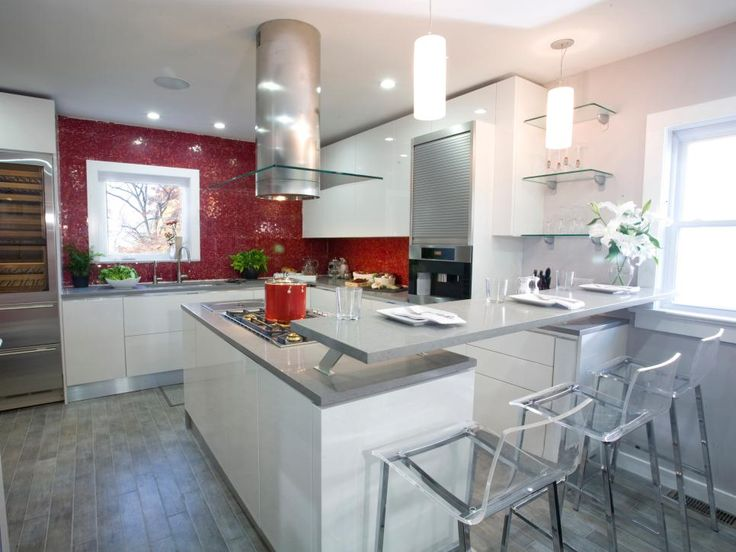 Lucite Chairs Pull Up To The Breakfast Bar Which Is Raised From Countertop Almost