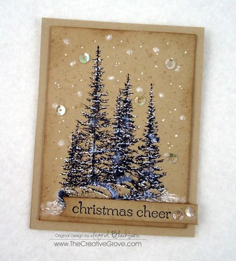 handmade card ... Pines on Rocks Winter Sequin Card  ... like the look of navy stamped pines on kraft ... fun snowfall includes sparkly sequins ... Stampin' Up!
