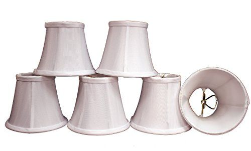 """Creative Hobbies Shantung Fabric Chandelier, Candle Lamp Shades, Soft Bell 3""""x 5""""x 4"""", Clip on Bulb, White Fabric, Set of 6 *** Check this useful article by going to the link at the image."""
