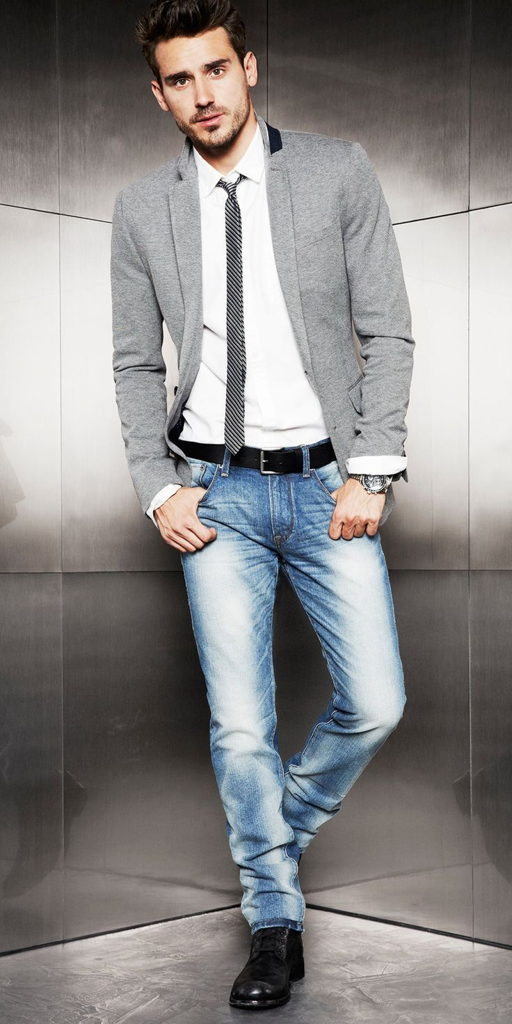 Menu0026#39;s Grey Cotton Blazer White Dress Shirt Blue Jeans Black Leather Boots | Cotton blazer ...