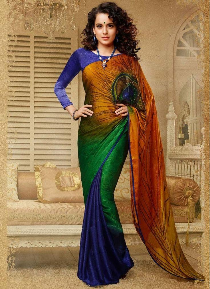 Kangana Ranaut Multi Color Georgette Saree