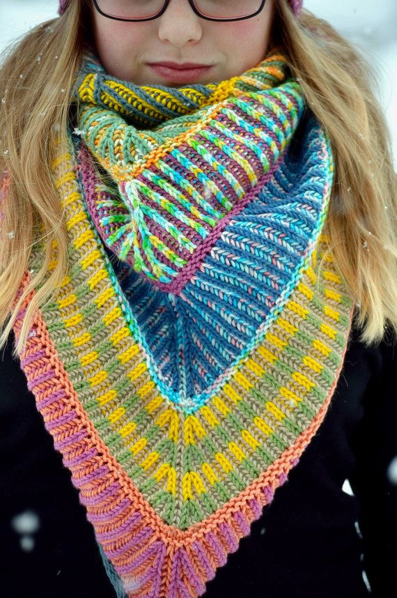 Knitting pattern for Brioche Shawl - great for multi-color yarn - more pics on Etsy (affiliate link) tba -