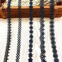 YENI 15 yards Siyah dantel kumaş şerit Pamuk Dantel Işlemeli Dikiş Düğün için Trimler Şerit konfeksiyon aksesuarları DIY zanaat