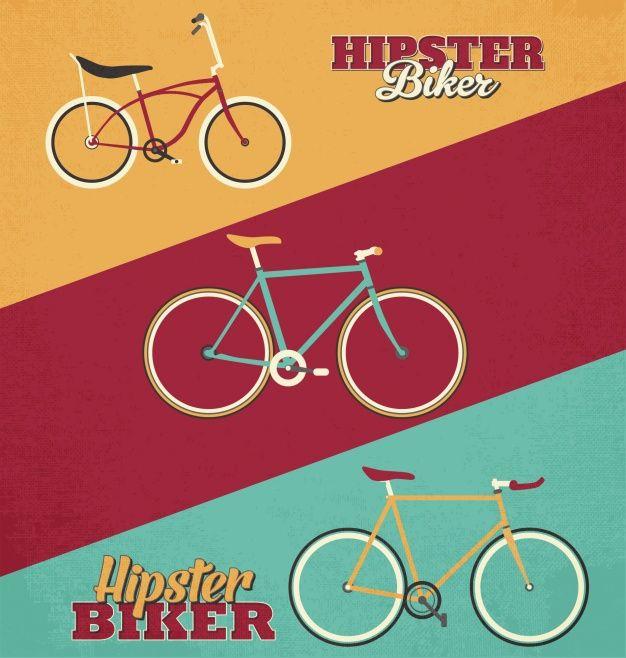 Fondo de bicicletas hipsters Vector Gratis