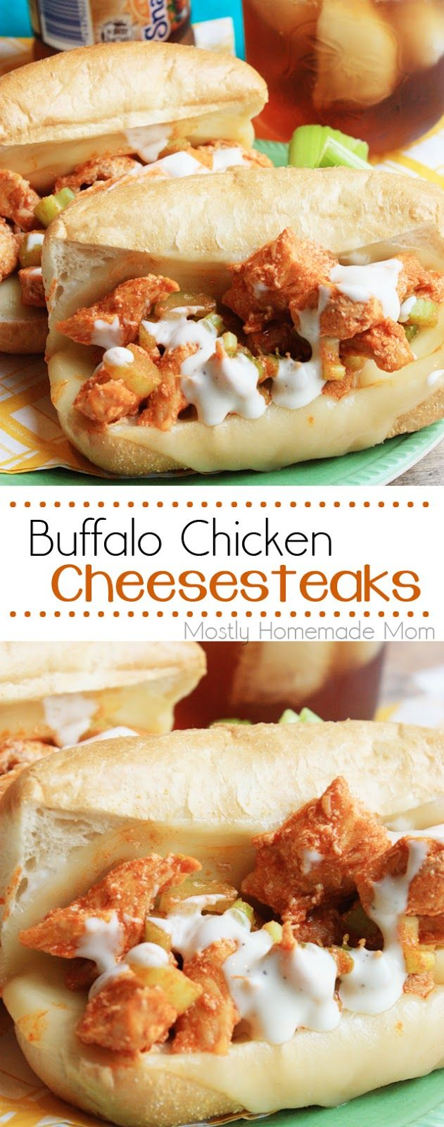 Buffalo Chicken Cheesesteaks - Sauteed chicken strips mixed with chopped celery and hot sauce and baked with provolone cheese and ranch dressing on hoagie rolls. Perfect with a glass of iced tea!