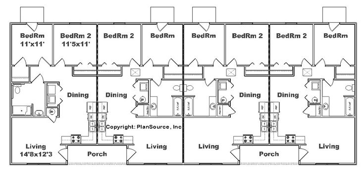 Apartment plan j2878 4 b multi unit plans pinterest for Two unit apartment plans
