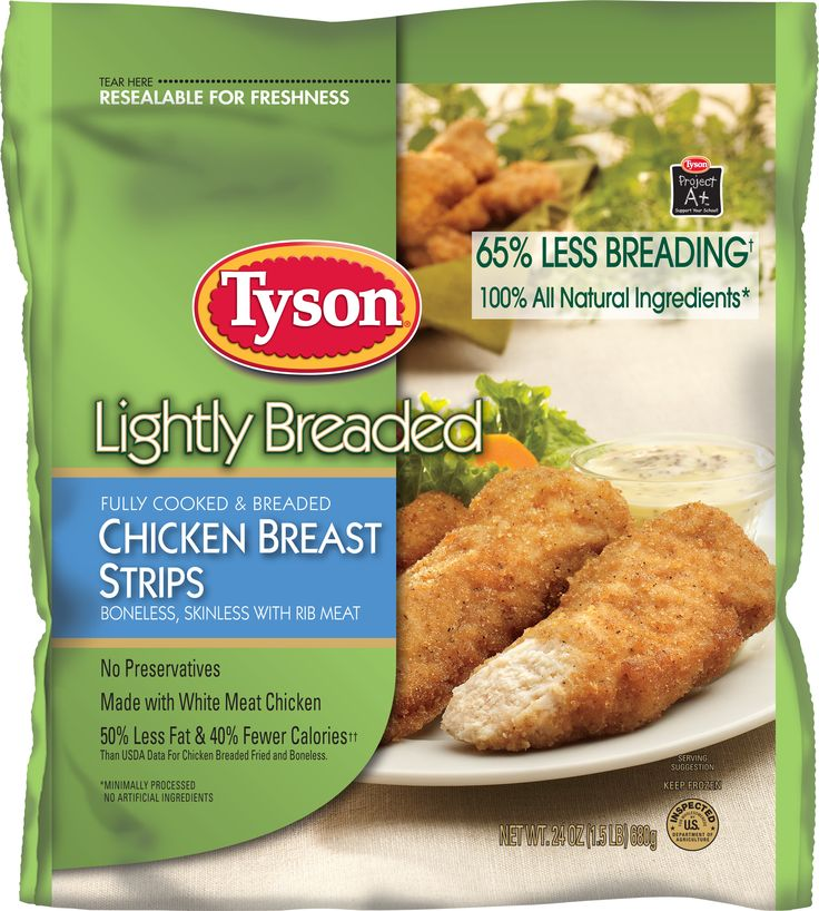 Tyson® Fully Cooked, Lightly Breaded Chicken Breast Strips have 65% less breading, 50% less fat & 40% fewer calories! #Dinner   Feeding your family great tasting, good-for-you food just got easier!   Tyson® Fully-Cooked, Lightly Breaded Chicken Breast Strips still have everything you love about breaded chicken strips, but also have no preservatives, no trans fat, minimal processing, and no artificial anything! Fully cooked and ready to pop in the oven - 100% All Natural* white-meat