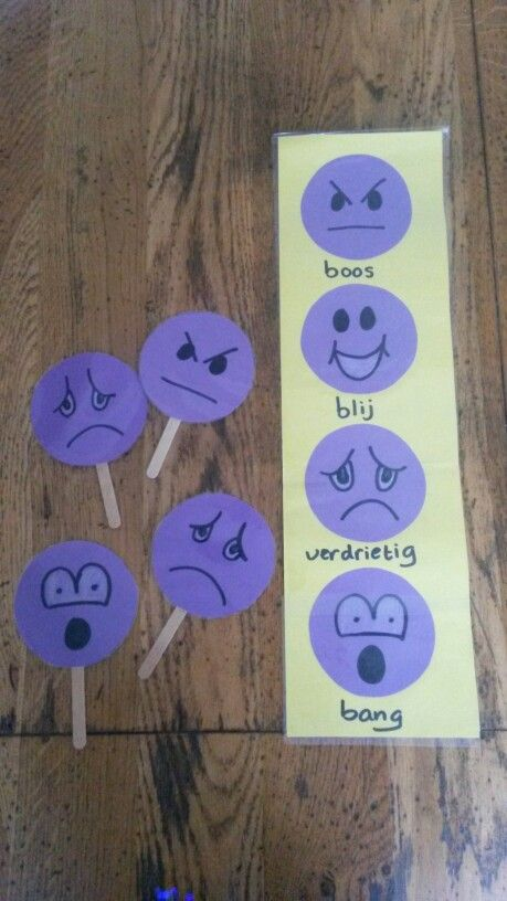Emotiemeter kan je de kinderen met wasknijper laten aangeven hoe ze zich voelen. Losse gezichtjes kunnen ze voor houden en bekijken in spiegel