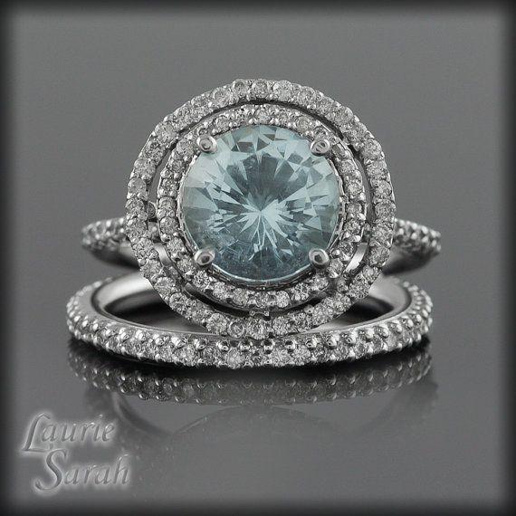 Round Aquamarine and Diamond Double Halo Ring Wedding Set - LS1531. $2,830.50, via Etsy.