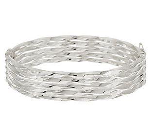 UltraFine Silver Average Multi-Row Twisted Design Bangle, 15.1g