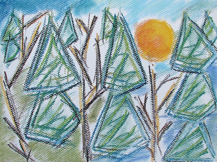 Sunset in the trees #art #pastels #forest #nature #sunset #abstract #drawing #spring