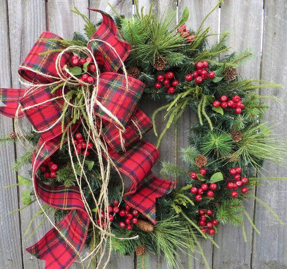 Christmas Wreath Plaid Christmas Wreath Winter by HornsHandmade