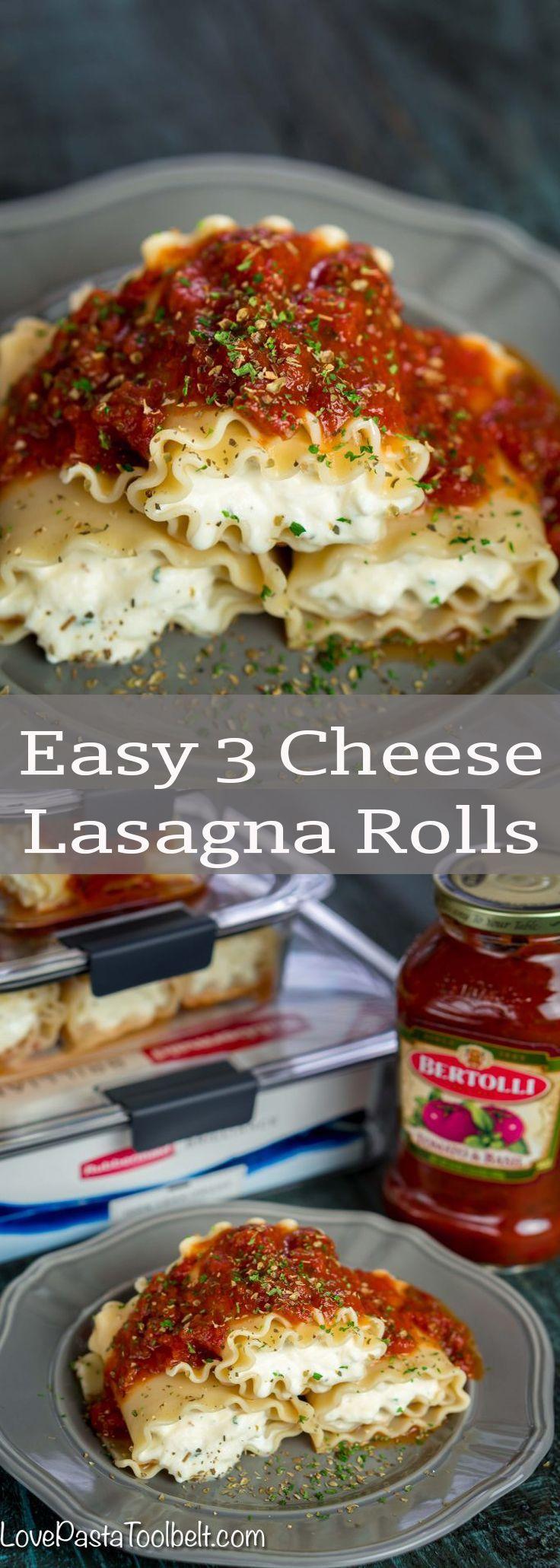 Easy 3 Cheese Lasagna Rolls- meal prep, easy dinner ideas, recipes, pasta, lasagna, dinner, red sauce, food, lasagna roll ups, cheese  #PremiumPrep #ad