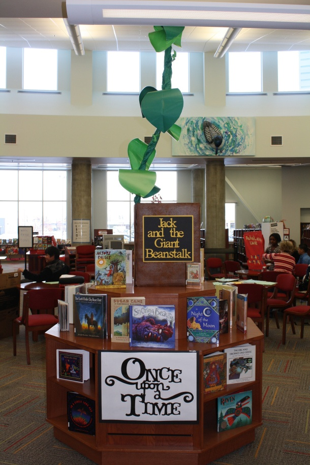 jack and the giant beanstalk (includes how-to on building a giant book). You could do in a high school library with retold tales or in middles school with the Grimm series.