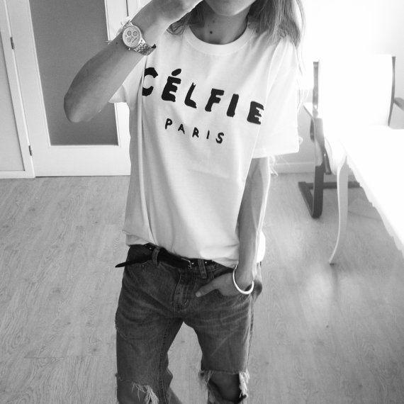 CÉLFIE Paris T-shirt  Sélfie Celine Women t-shirt Girl shirt tee graphic t-shirt swag homiés Available in White and Gray women clothing