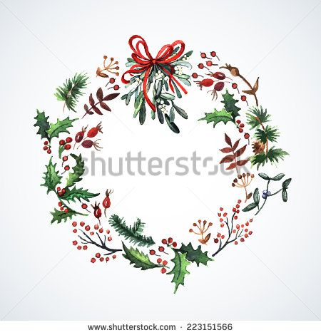 Watercolor wreath with Christmas plants. Watercolor. Christmas decor. Ideal for design Christmas gifts and scrapbooking. Illustration for greeting cards, invitations, and other printing projects. - stock vector