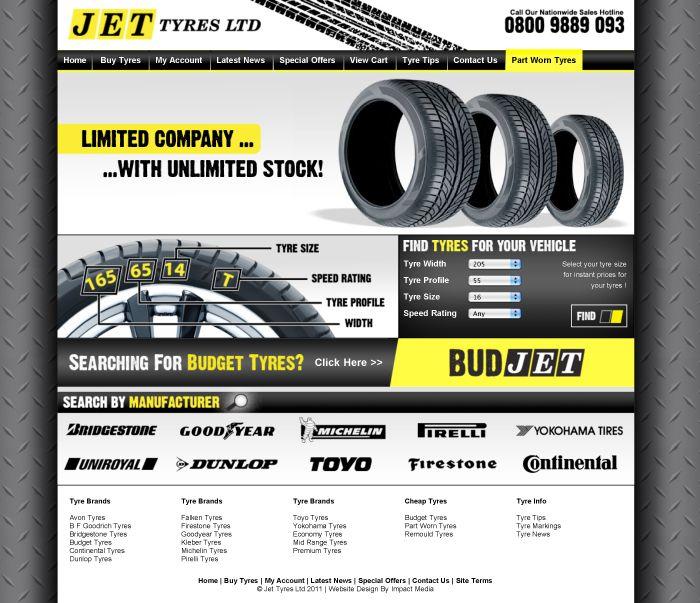 JET TYRES LTD Ecommerce Website