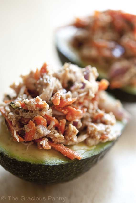 Clean Eating Chicken Avocado Salad -- swap out the grated carrot for thinly sliced celery to bring the carbs down farther!