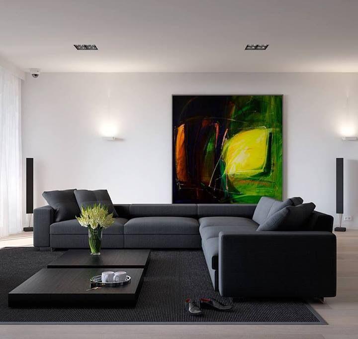 Modern living room, clean lines