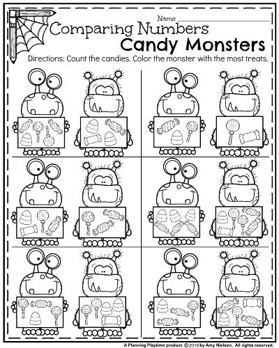 October Kindergarten Worksheets - Count and Compare Numbers.