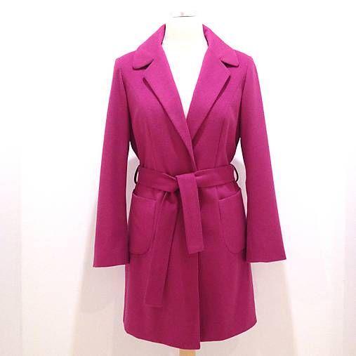 LuxuryCouture / Módny kašmírový kabát fuksiový