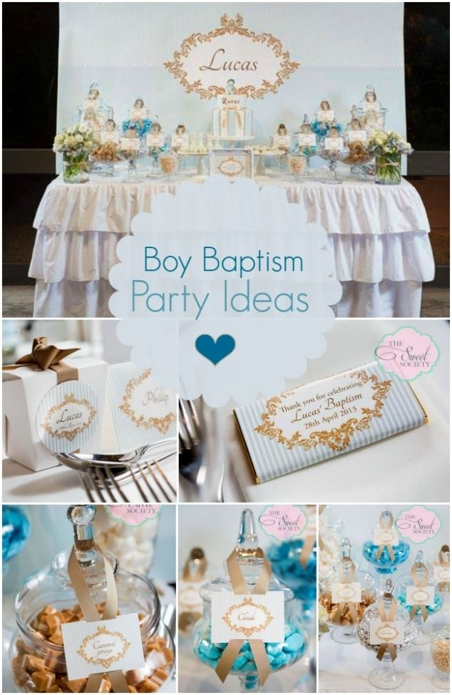 Boy baptism party in blue white and gold pinterest for Baby dedication decoration
