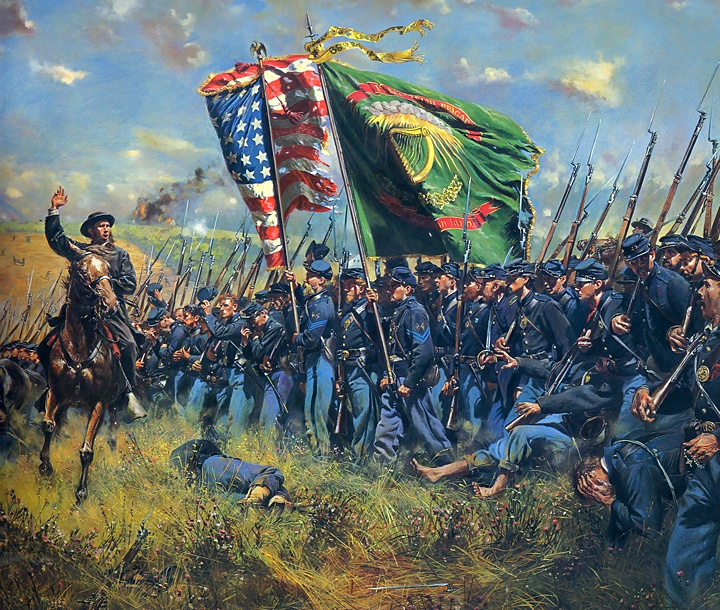"The American Civil War: Detail of ""Sons of Erin,"" by Don Troiani. Father Corby rides across the advancing line of the Irish Brigade at Sharpsburg."