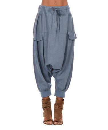 Look what I found on #zulily! Blue Drawstring Drop-Pocket Linen Harem Pants - Women & Plus #zulilyfinds