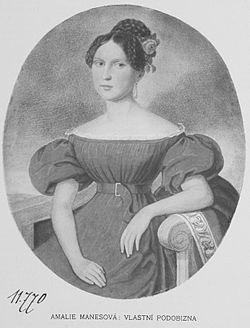 Amalie Mánesová - Autoportrét z r. 1837