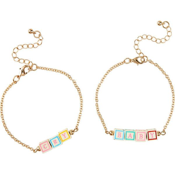 Hot Topic Melanie Martinez Cry Baby Blocks Bracelet Set ($8.72) ❤ liked on Polyvore featuring jewelry, bracelets, melanie martinez, chains jewelry and gold tone jewelry