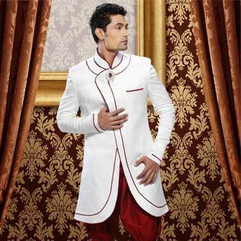 White Brocade Readymade Indo-Western Suit