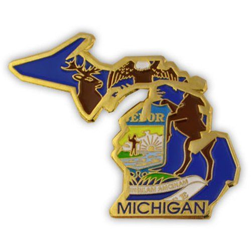 Michigan Pins And State Lapel Pins In Stock And Ready To Ship. State Shape  Pins For All 50 US States. Michigan State Pins Include The State Flag And  State ...