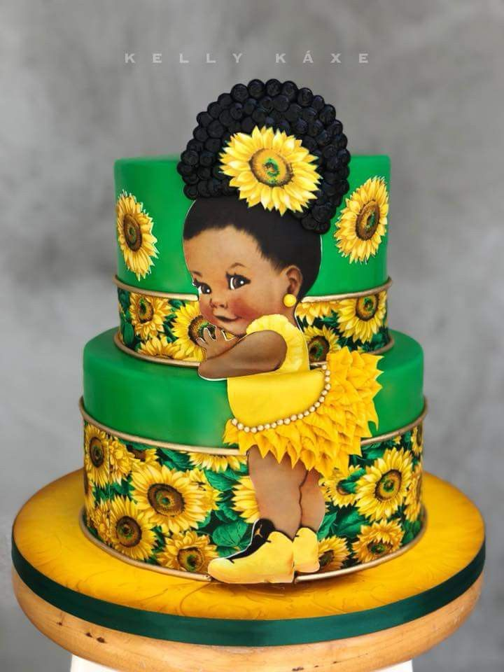 Afro Puff Sunflower Theme Birthday Cake In 2019