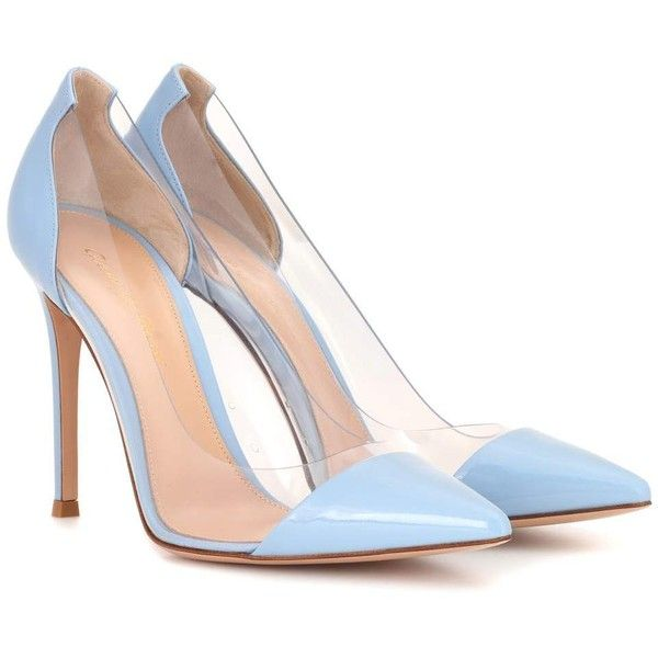 Gianvito Rossi Plexi Leather Pumps (£610) ❤ liked on Polyvore featuring shoes, pumps, heels, blue, high-heel, leather pumps, lucite pumps, blue leather shoes, acrylic shoes and leather shoes