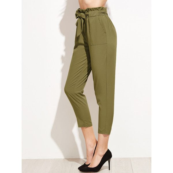 SheIn(sheinside) Ruffle Waist Self Belt Tailored Pants ($14) ❤ liked on Polyvore featuring pants, capris, army green, high-waisted pants, ruffle capris, summer pants, elastic waist pants and olive green pants