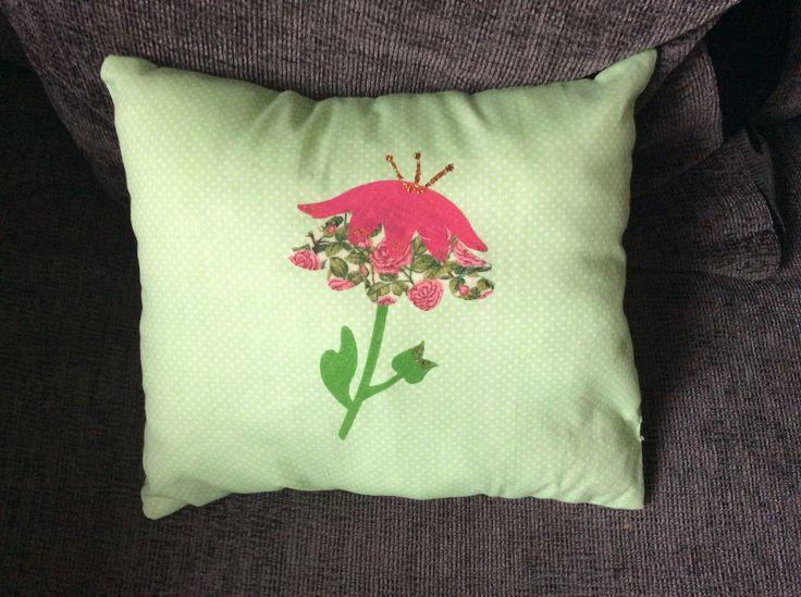 Flower Appliqué Cushion - March 2015