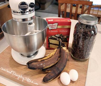 Simple 3-Ingredient Banana Bread {Including The Bananas!} (don't count the chocolate chips...;)