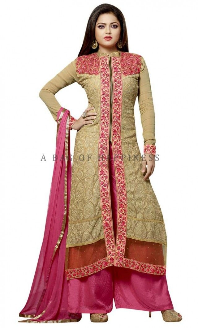 Beige Color Georgette Kurta with Palazzo Pant. http://www.abagofhappiness.com/shop/beige-color-georgette-kurta-with-palazzo-pant/