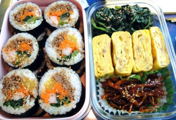 Kimbap, ojinochae, kyeranmari!  Best box lunch ever.