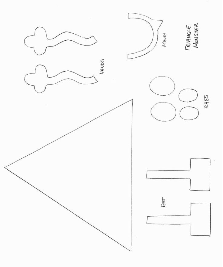 monster craft template shapes crafts print your triangle monster template at allkidsnetwork. Black Bedroom Furniture Sets. Home Design Ideas