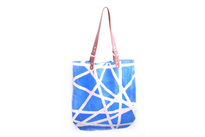 canvas tote bag with blue shattered glass by Soet /  Soet stationery