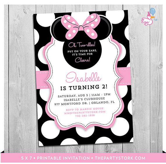 Minnie Mouse Birthday Invitations | Printable Girls Party Invitation | Black White Polka Dots and Pink | 2nd Birthday Twodles | Oh Two-dles