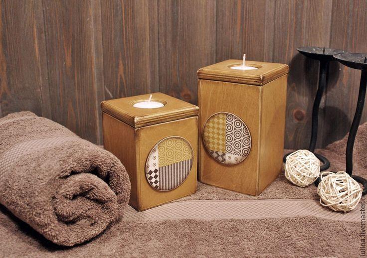 """Купить Подсвечники """"Геометрия"""" - комбинированный, подсвечник, для свечи, хранение свечей, для ванной комнаты, для уюта, деревянный"""