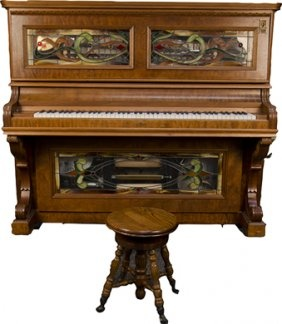 "Unusual ""baby grand"" antique piano with leaded glass panels above and below. Made by Petrof."