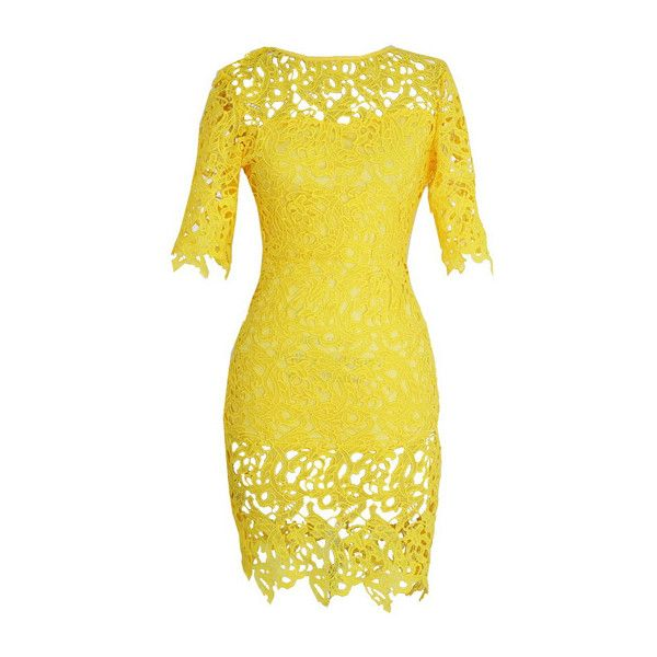 Short Sleeve Yellow Lace Sheath Dress found on Polyvore featuring polyvore, fashion, clothing, dresses, vestidos, yellow, yellow dress, knee length lace dress, lace-sleeve dress and lace sheath dress