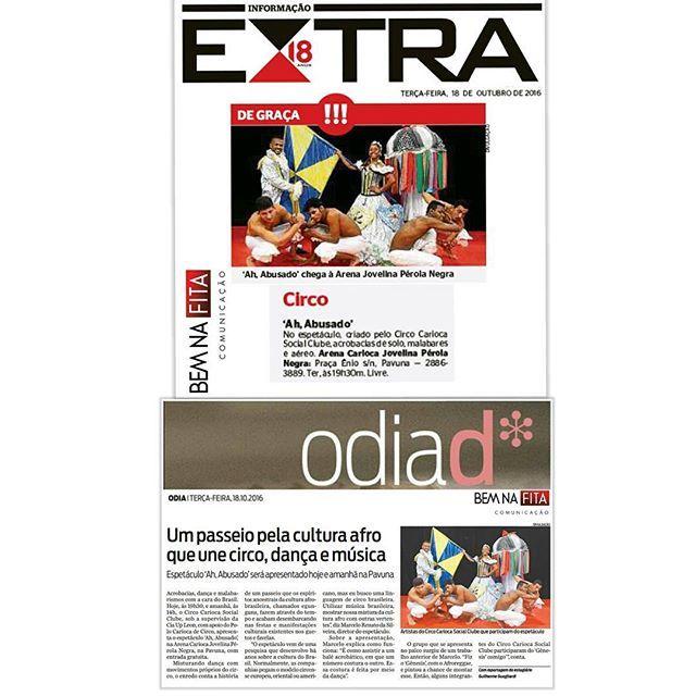 """Hoje e amanhã nosso cliente Arena Carioca Jovelina Pérola Negra recebe o espetáculo """"Ah, abusado"""". A apresentação une circo, dança e música. É gratuito!  #assessoriadeimprensa #comunicacao #comunicacaoderesultados #assessoria #cultura #espetaculo #circo #musica #danca #diversidade #riodejaneiro #pavuna #jornalismo #publicidade #marketing #show #musica #bebeto #sambarock#bemnafita #bemnafitacom #bnf"""