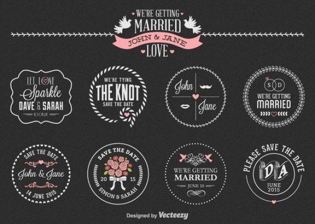 Jogo de etiqueta do casamento Vetor grátis