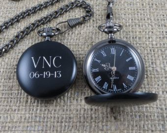 Personalized Pocket Watch Monogrammed Gifts by tiposcreations