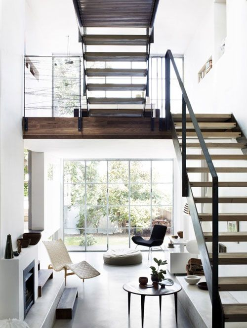 : Living Rooms, Open Spaces, Window, Open Stairs, Interiors Design, Black White, House, Style File, Modern Home